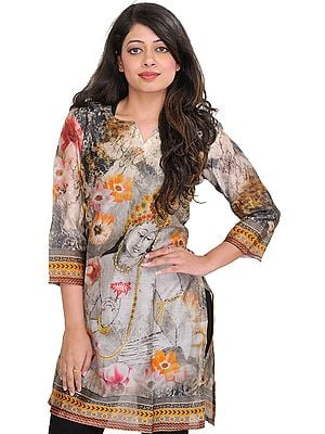 Gray and White Kurti with Digital-Printed Lord Padmapani Ajanta