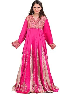 Magenta Gown from Kashmir with Ari-Embroidered Paisleys