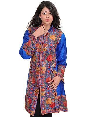 Imperial-Blue Long Jacket from Kashmir with Floral Ari-Embroidery by Hand