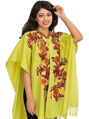 Daiquiri-Green Cape from Kashmir with Ari Hand-Embroidered Flowers