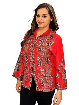 Tomato-Red Jacket from Kashmir with Ari Hand-Embroidered Chinar Leaves