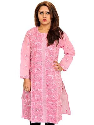Prism-Pink Chikan Hand-Embroidered Kurti from Lucknow