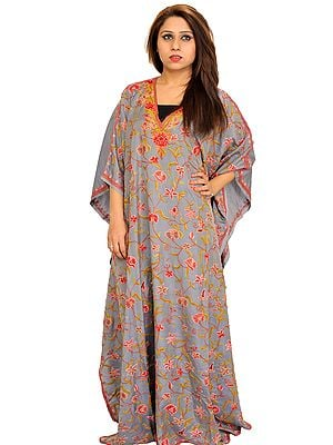 Gray Kaftan from Kashmir with Ari Hand-Embroidered Flowers