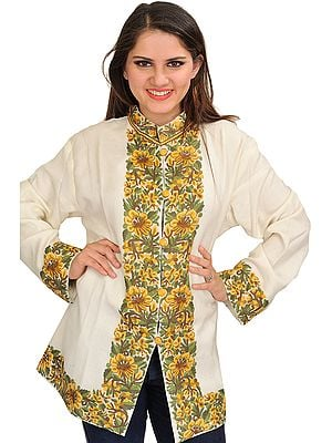 Off-White Jacket from Kashmir with Floral Hand-Embroidery on Border