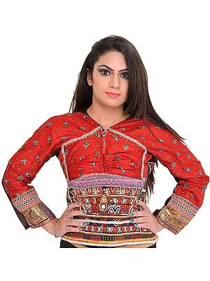 Rococco-Red Backless Choli from Kutch with Antiquated Rabari Embroidery