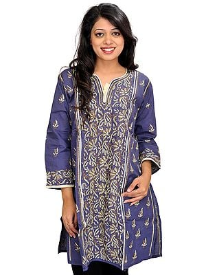 Blue-Indigo Kurti from Lucknow with Chikan Hand-Embroidered Paisleys