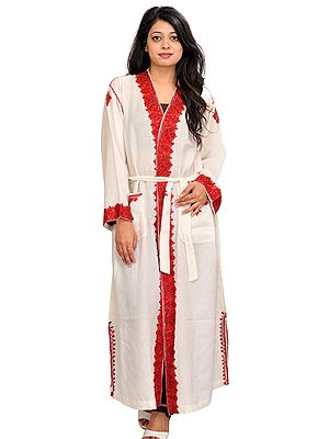 Ivory Robe from Kashmir with Ari Hand-Embroidered Paisleys on Border