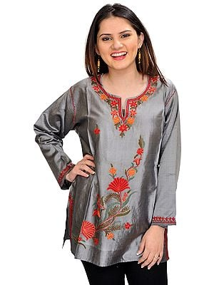 Short Kurti from Kashmir with Floral Ari-Embroidery by Hand