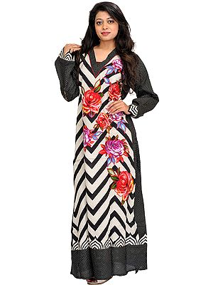 Black and White Printed Kaftan with Applique Roses and Zigzag Stripes