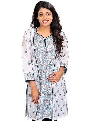 White Chikan Hand-Embroidered Kurti from Lucknow