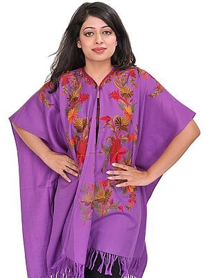 Meadow-Violet Cape from Kashmir with Ari-Embroidered Flowers by Hand