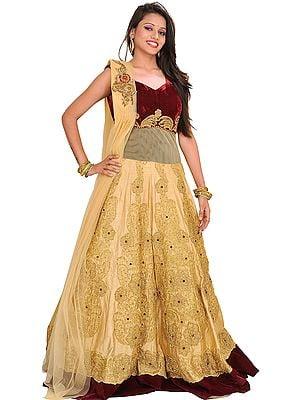 Vanilla and Maroon Wedding Dress with Zari-Embroidery and Bead-work