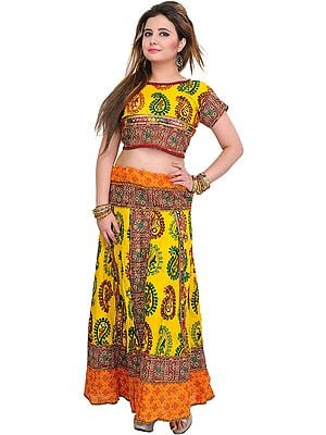 Lemon-Yellow and Orange Two-Piece Lehenga Choli from Kutch with Printed Paisleys and Embroidered Patches