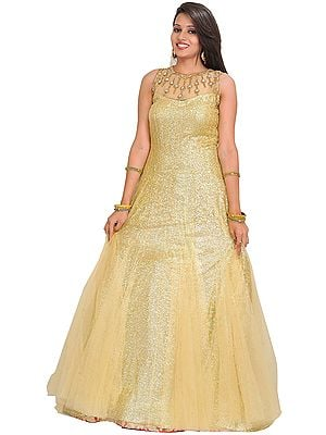 Golden Wedding Embellished Gown with Sequins All-Over and Stone-work on Neck