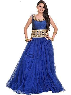 Dazzling-Blue Designer Belt-Gown with Stone-work
