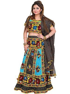 Black and Blue Lehenga Choli from Jodhpur with Embroidered Flowers and Printed Polka Dots