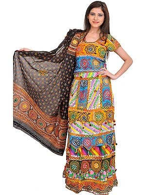 Multicolor Printed Lehenga Choli from Kutch with Large Sequins and Ghungaroos