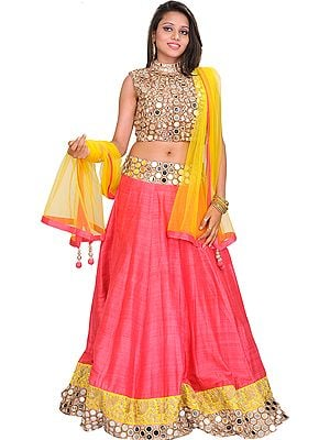 Pink and Yellow Gol Sheesha Lehanga Choli with Embroidered Mirrors