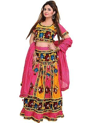 Pink and Marigold Lehenga Choli from Jodhpur with Printed Polka Dots and Embroidered Flowers
