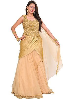 Metallic Designer Polo Gown with Stones and Embroidered Beads