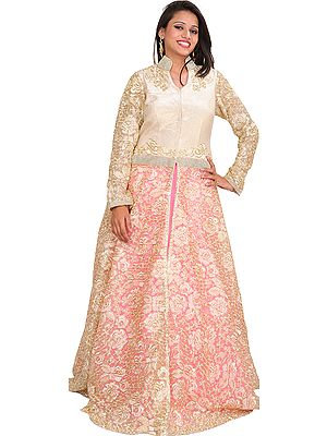 White and Pink Diamond Jacket Lehanga with Embroiderd Flowers
