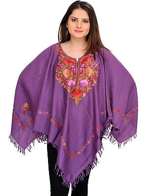 Patrician-Purple Poncho from Kashmir with Ari-Embroidery by Hand