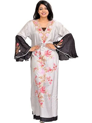 Silver and Black Butterfly Kaftan from Kashmir with Ari-Embroidered Maple Leaves