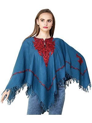 Poncho from Kashmir with Ari Hand-Embroidered Paisleys on Neck
