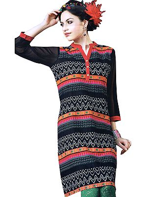 Black and Pink Kurti with Zigzag Print