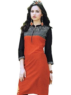 Orange and Black Kurti with Madhubani Print