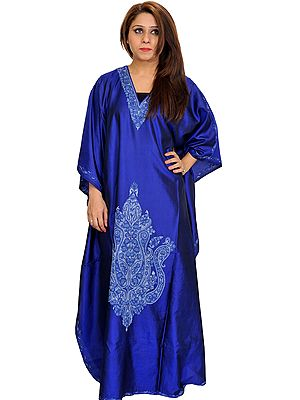 Mazarine-Blue Kaftan from Kashmir with Ari Hand-Embroidered Paisleys