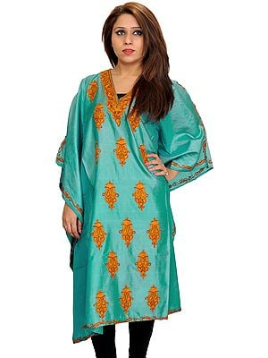 Agate-Green Kaftan from Kashmir with Ari Hand-Embroidered Paisleys