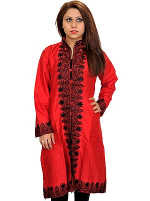 Lollipop-Red Long Jacket from Kashmir with Ari-Embroidery in Black Thread