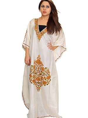 Ivory Kaftan from Kashmir with Ari Hand-Embroidered Flowers