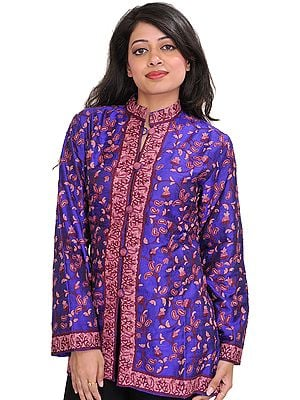 Royal-Blue Jacket from Kashmir with Ari Hand-Embroidered Paisleys All-Over