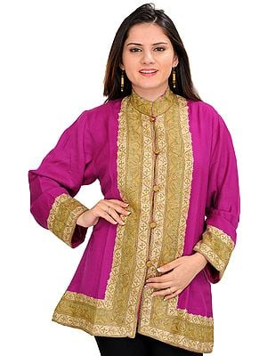 Purple-Wine Jacket from Kashmir with Ari Hand-Embroidery on Border