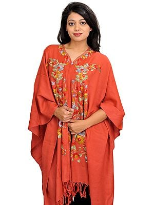 Spiced-Coral Cape from Kashmir with Floral Ari-Embroidery by Hand