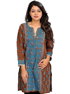 Acorn-Brown Chikan Hand-Embroidered Kurti from Lucknow with Bootis