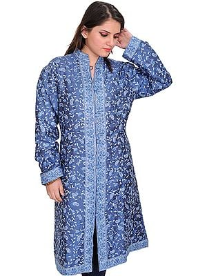 Moonlight-Blue Jacket from Kashmir with Ari Hand-Embroidered Paisleys All-Over