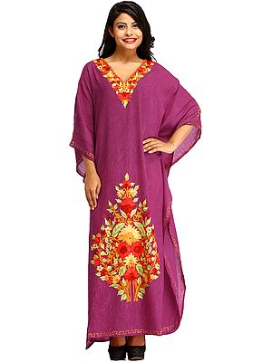 Purple-Wine Kaftan from Kashmir with Ari-Floral Embroidery