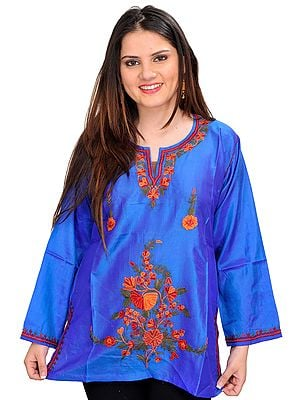 Princess-Blue Short Kurti from Kashmir with Ari Embroidery by Hand
