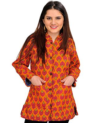 Sun-Orange Block Printed Reversible Jacket from Pilkhuwa with Straight Stitch