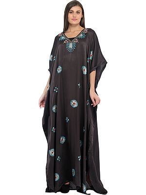 Caviar-Black Kaftan from Kashmir with Embroidered Beads and Sequins