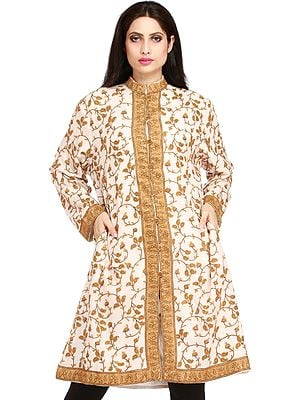 Ivory and Brown Long Kashmiri Jacket with Ari Hand-Embroidered Paisleys All-Over