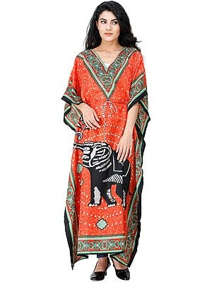 Kaftan with Printed Elephant and Dori at Waist