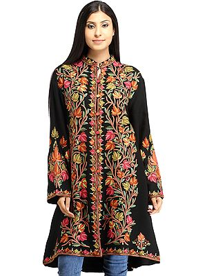 Phantom-Black Long Jacket from Kashmir with Ari Hand-Embroidered Maple Leaves