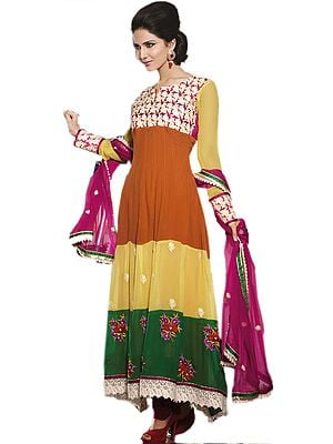 Tri-Color Long Designer Chudidar Kameez Suit with Ari Embroidered Flowers and Crochet Border