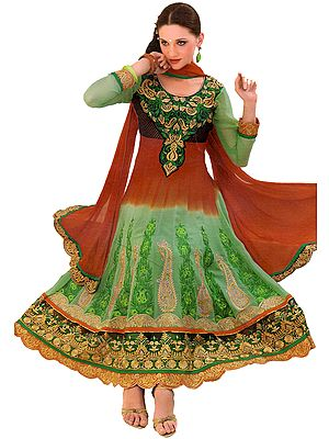 Tri-Colored Wedding Anarkali Suit with Embroidered Paisleys