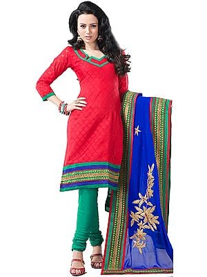 True-Red Chudidar Kameez Suit with Embroidered Border and Self-Weave