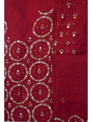 True-Red Salwar Kameez Fabric with Embroidered Flowers and Sequins All-Over